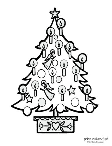 Pretty old-fashioned Christmas tree with angels and candles