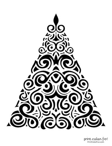 Pretty swirls on an abstract Xmas tree design