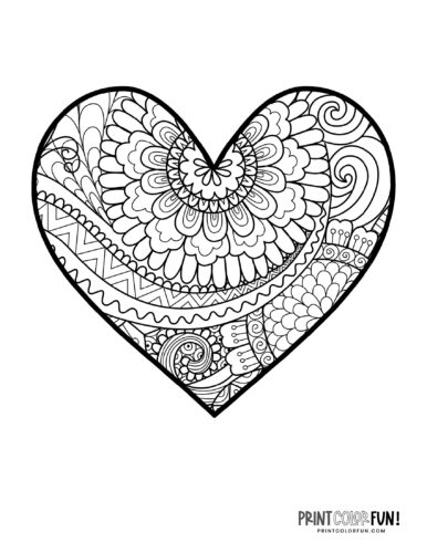 Pretty zen doodle floral pattern adult coloring book page