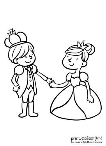 Prince and princess holding hands
