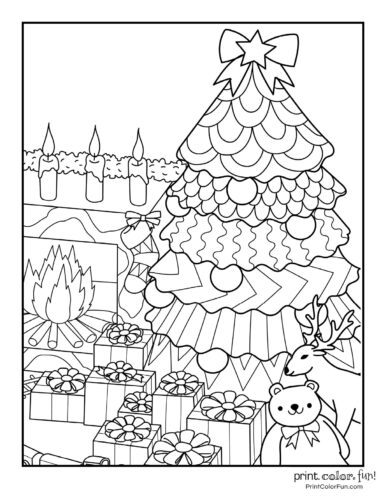 Printable Christmas tree and presents coloring page