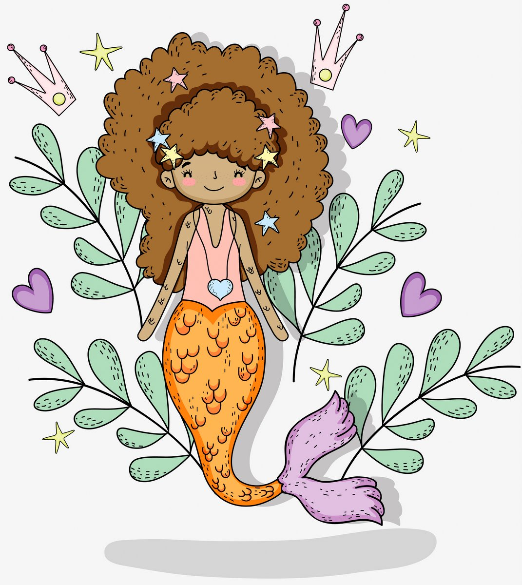 mermaid woman with plants leaves and hearts