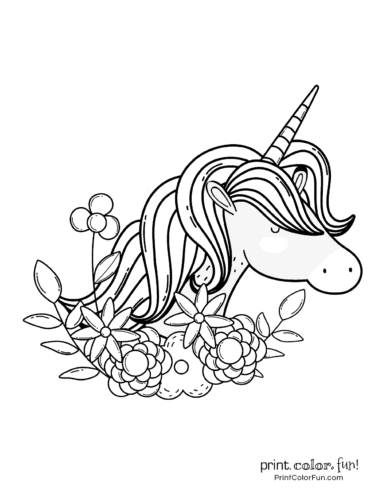 Sleepy unicorn with flowers