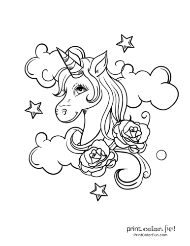 Fancy unicorn picture with roses and clouds