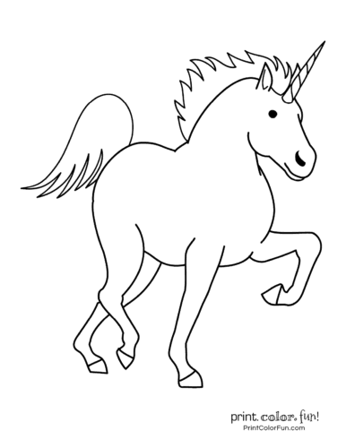 Young prancing horse-like unicorn<
