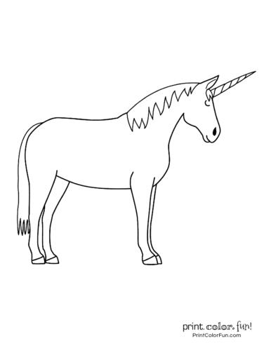 Basic unicorn coloring page