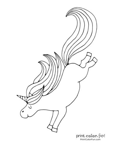 Joyful unicorn bucking