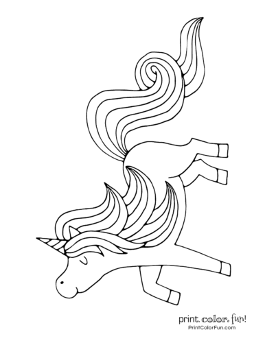 Proud and happy unicorn coloring page