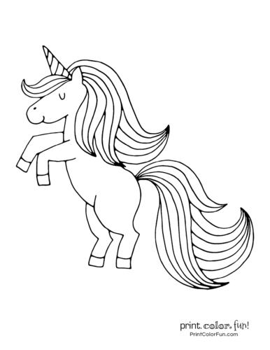 Happy unicorn printable page