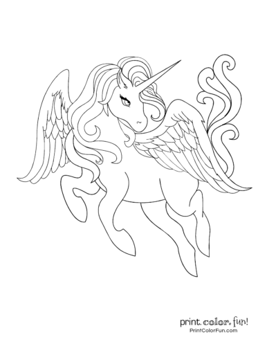 A leaping unicorn coloring page