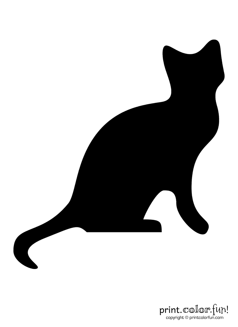Pumpkin carving stencil: Black cat coloring page - Print ...