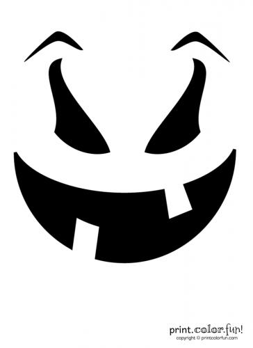 Pumpkin Carving Stencil Evil Goof Coloring Page Print