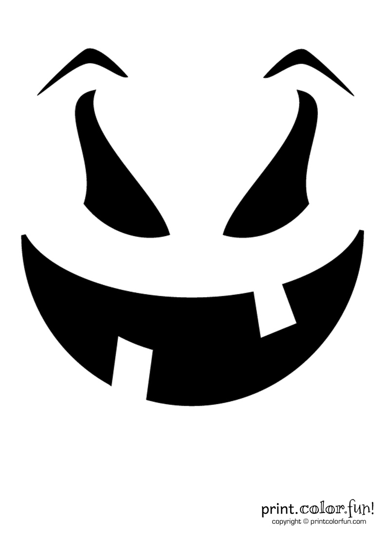 Pumpkin Carving Stencil Evil Goof Coloring Page Print