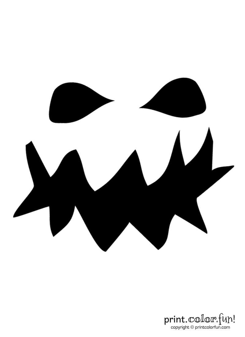 Pumpkin carving stencil Grouchy ghoul coloring page Print Color Fun