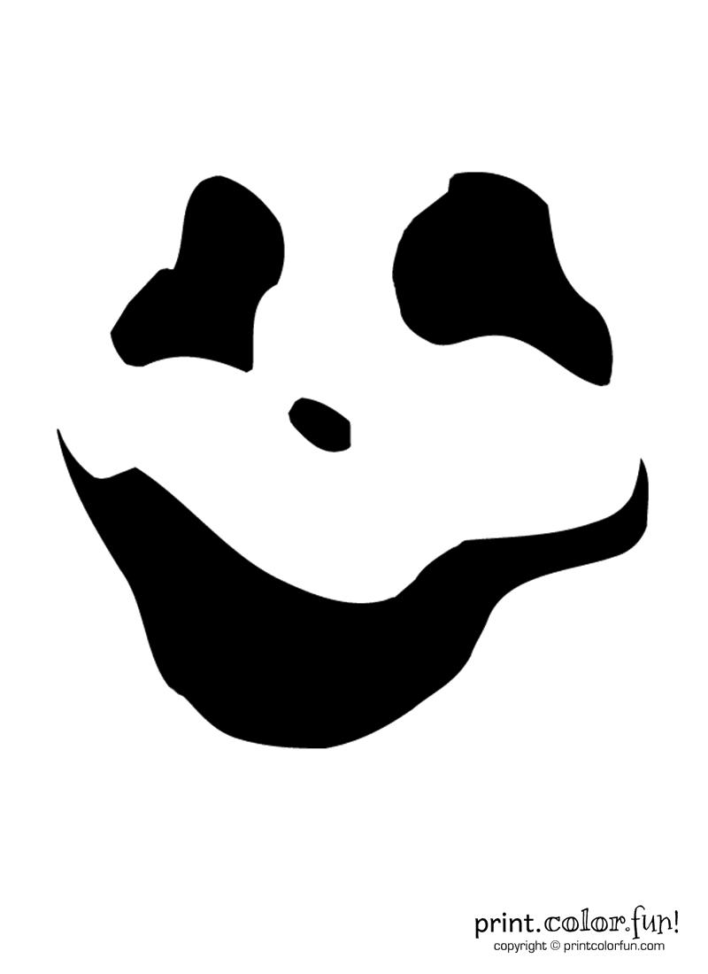 Pumpkin Carving Stencil Wispy Ghoul Coloring Page Print