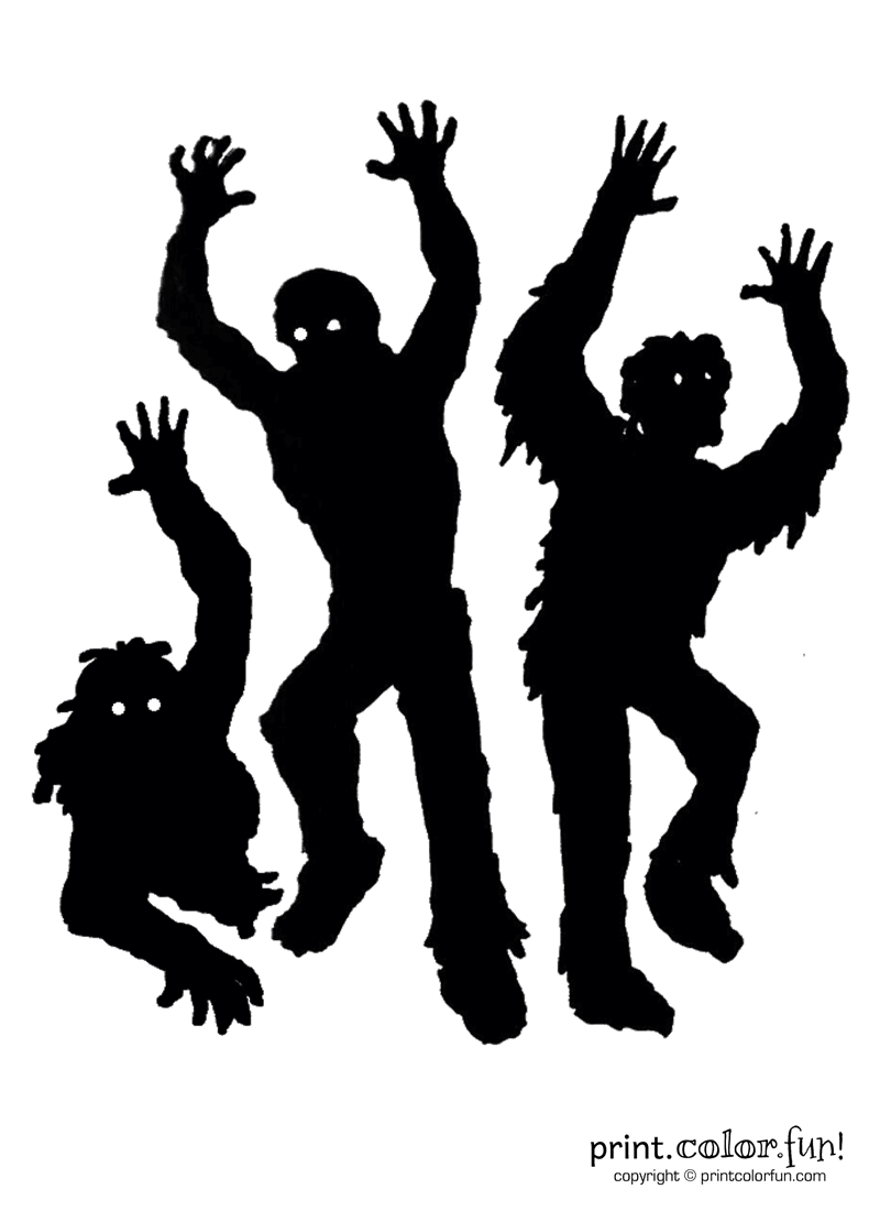 Pumpkin Carving Stencil Zombies Coloring Page Print