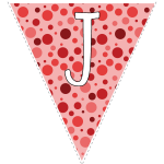 Red polka dots with white letters 6
