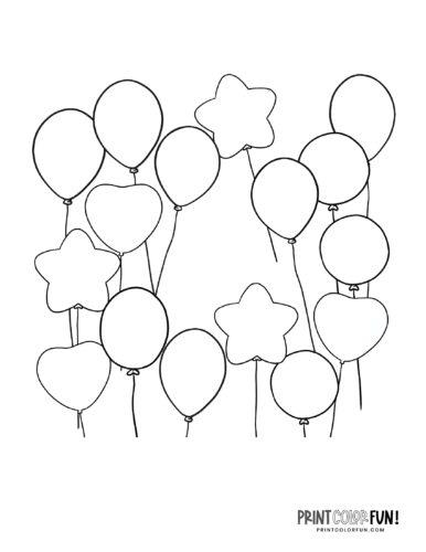 Regular balloons and star balloon coloring page