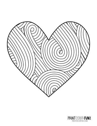 Retro swirl lines in a heart printable