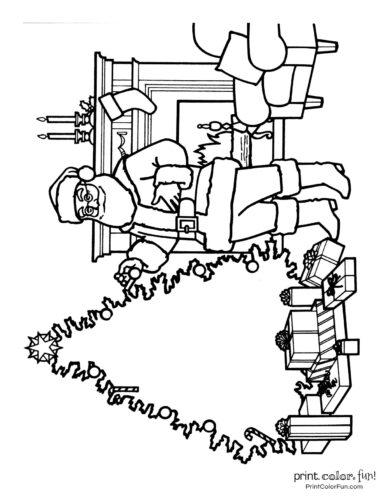 Santa Claus with a blank Christmas tree printable