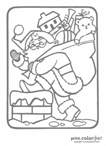 Santa-going-into-chimney---Christmas-light