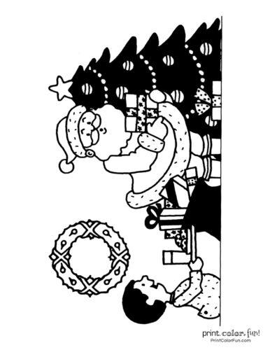 Santa putting presents under the Christmas tree