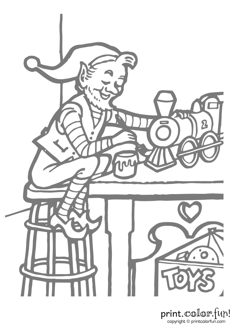 free elf making toys coloring pages