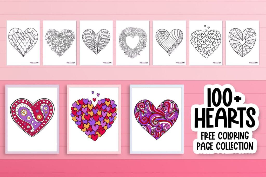 See 100-plus heart coloring pages