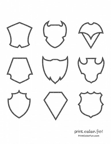 Set of medieval-style shields