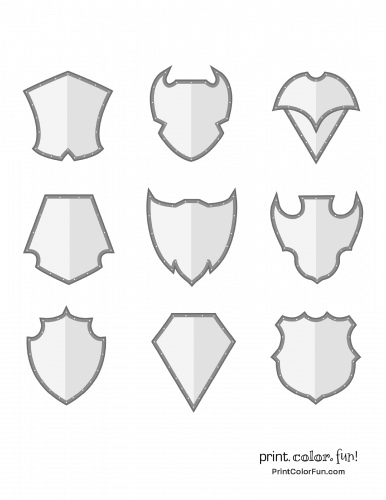 Set of shaded shields