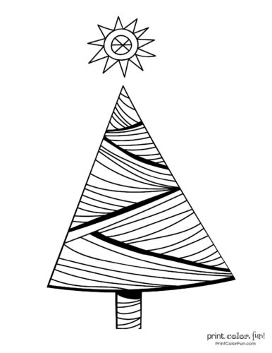 Simple Christmas tree coloring page with lines