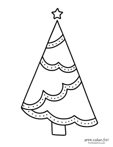 Simple Xmas tree design with easy decorations to color