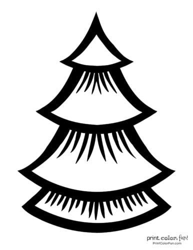 Simple and basic Christmas tree coloring page design