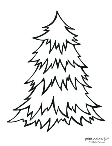 Simple blank Christmas tree coloring page