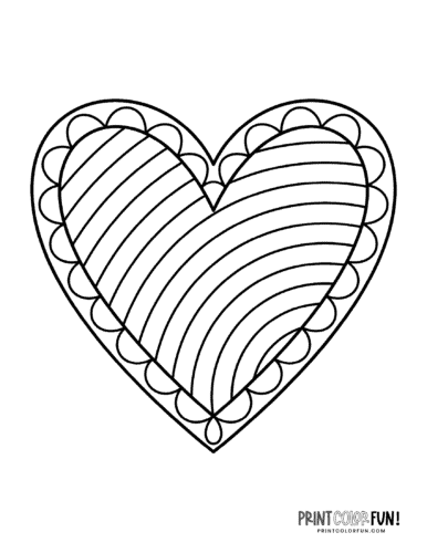Simple decorative valentine heart coloring page