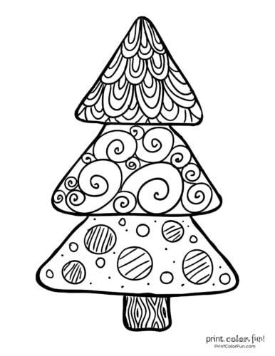 Simple patterned Xmas tree printable
