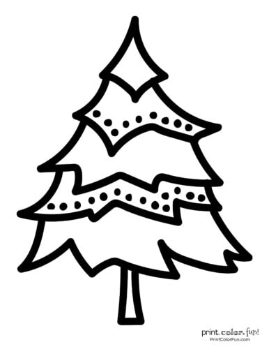Simple to color Christmas tree coloring page