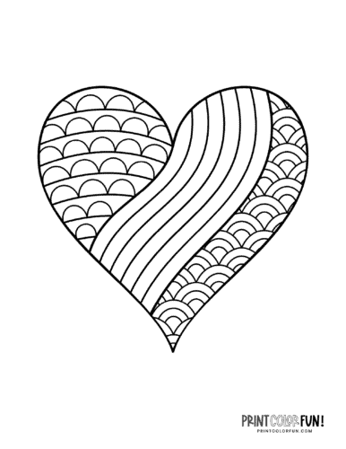 Simple zen doodle coloring page heart