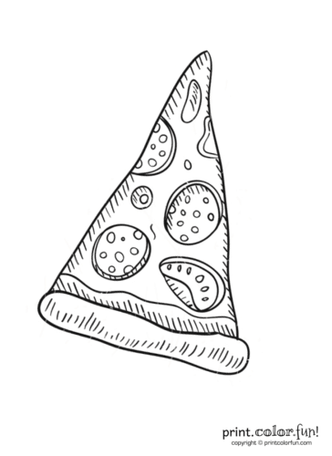 Slice Of Pepperoni Pizza Coloring Page Print Color Fun