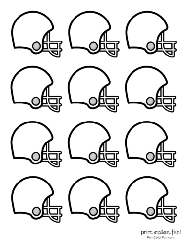 Small printable football helmets for decorations or cake toppers