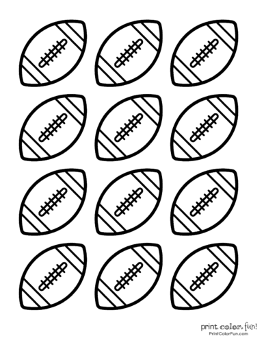 Small printable footballs for decorations or cake toppers