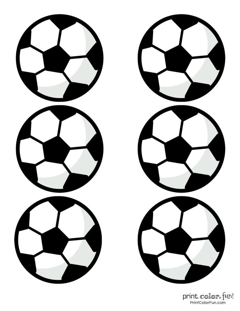 Soccer ball coloring printables - set of 6