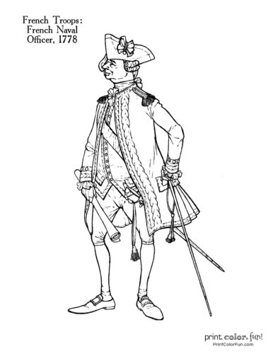 Soldiers of the Revolution coloring page - French Naval Officer 1778