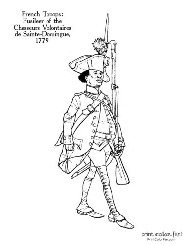 Soldiers of the Revolution coloring page - Fusileer of the Chasseurs Volontaires de Sainte-Domingue 1779