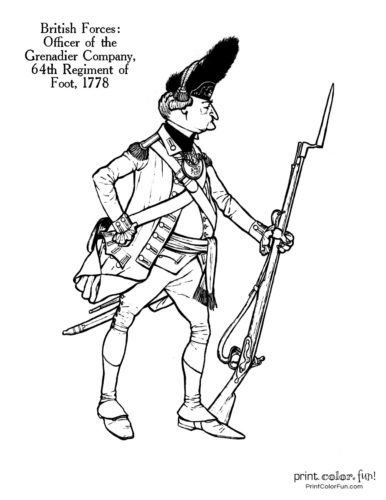 Soldiers of the Revolution coloring page - Officer of the Grenadier Company, 64th Regiment of Foot, 1778