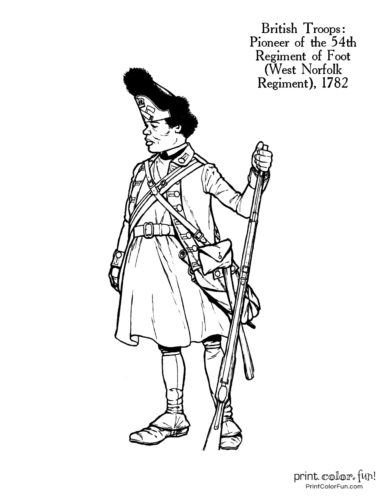 Soldiers of the Revolution coloring page - Pioneer of the 54th Regiment of Foot, the West Norfolk Regiment, 1782