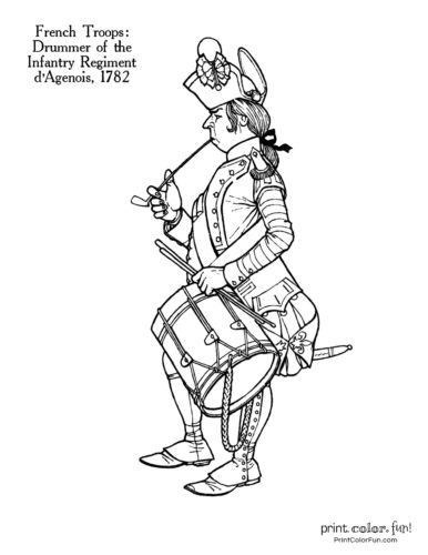 Soldiers of the Revolution coloring pages - Drummer of the Infantry Regiment dAgenois 1782