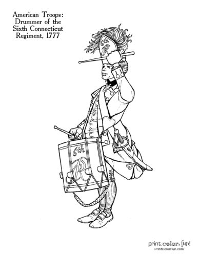 Soldiers of the Revolution coloring pages - Drummer of the Sixth Connecticut Regiment 1777