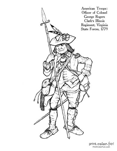 Soldiers of the Revolution coloring pages - Officer Ilinois Regiment, Virginia State Forces 1779