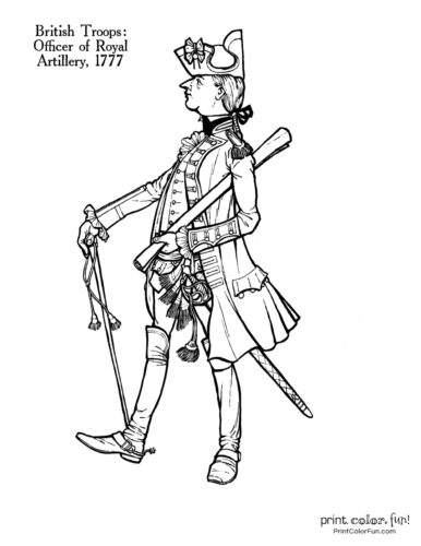 Soldiers of the Revolution coloring pages - Officer of Royal Artillery 1777